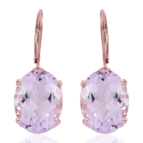 Limited Edition- Designer Inspired AAA Rose De France Amethyst (Ovl) Lever Back Earrings in Rose Gold Overlay Sterling Silver 16.250 Ct.