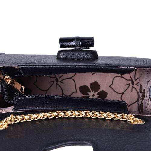 Black Colour Crossbody Bag with Chain Strap (Size 20x14x8 Cm)