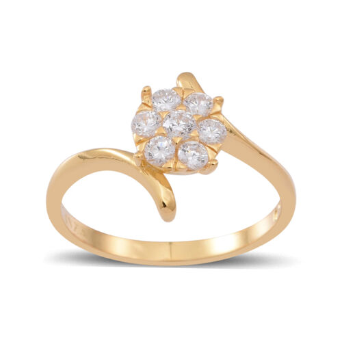 ELANZA AAA Simulated White Diamond (Rnd) 7 Stone Ring in 14K Gold Overlay Sterling Silver