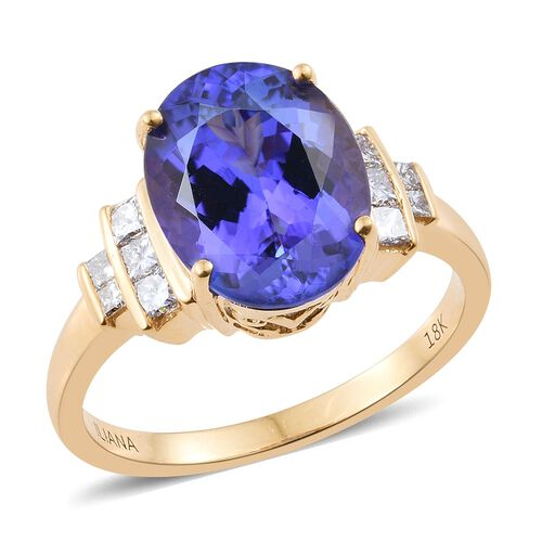 ILIANA 18K Yellow Gold AAA Tanzanite (Ovl 4.88 Ct), Diamond (SI/G-H) Ring 5.200 Ct.