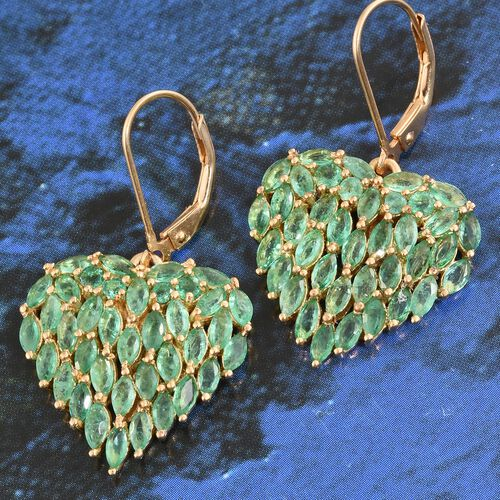 Designer Inspired Kagem Zambian Emerald (Mrq) Heart Lever Back Earrings in 14K Gold Overlay Sterling Silver 5.000 Ct. Silver wt. 5.50 Gms.
