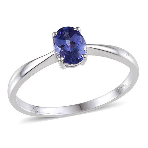 ILIANA 18K W Gold AAA Tanzanite (Ovl) Solitaire Ring 1.000 Ct.