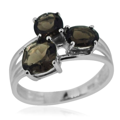 Brazilian Smoky Quartz (Cush 1.25 Ct) Ring in Sterling Silver 2.750 Ct.