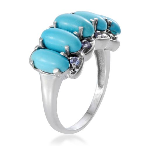 Arizona Sleeping Beauty Turquoise (Ovl), Tanzanite Ring in Platinum Overlay Sterling Silver 6.400 Ct.