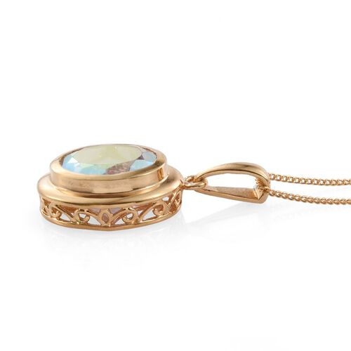 Mercury Mystic Topaz (Ovl) Solitaire Pendant With Chain in 14K Gold Overlay Sterling Silver 4.250 Ct.