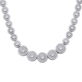 Designer Inspired ELANZA AAA Simulated White Diamond (Rnd) Necklace (Size 17) in Rhodium Plated Sterling Silver.Silver Wt 33.20 Gms
