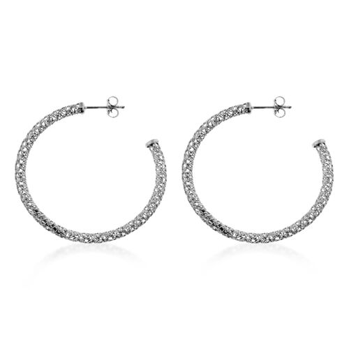 Rhodium Plated Sterling Silver Hoop Earrings (with Push Back), Silver wt 3.00 Gms.