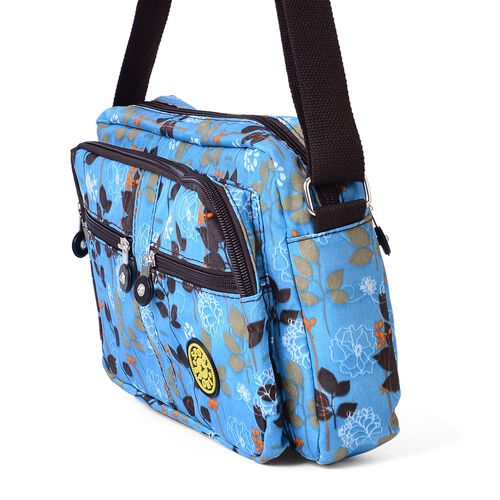 Turquoise and Multi Colour Leaves Pattern Waterproof Sport Bag with External Zipper Pocket and Adjustable Shoulder Strap (Size 27x20x6 Cm)