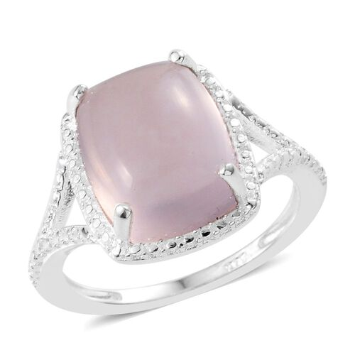 Brazilian AA Rose Quartz (Cush) Solitaire Ring in Sterling Silver 4.000 Ct.