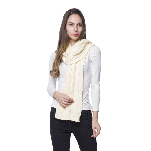 New for Season Designer Inspired Cream Colour Scarf (Size 170x25 Cm)