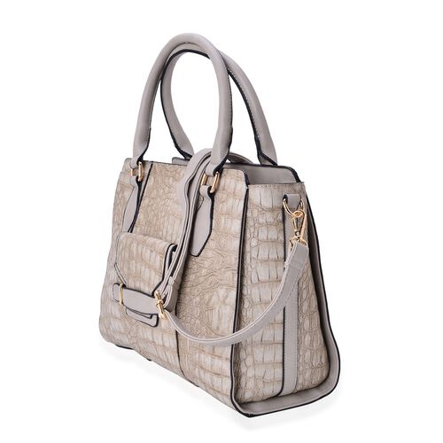 Limited Collection Crock Embossed Grey Tote Bag with External Zipper Pocket and Adjustable and Removable Shoulder Strap (Size 34x26x14 Cm)
