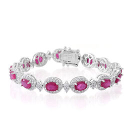 African Ruby (Ovl), Natural White Cambodian Zircon Bracelet (Size 7.5) in Rhodium Plated Sterling Silver 17.000 Ct. Silver wt 16.00 Gms.