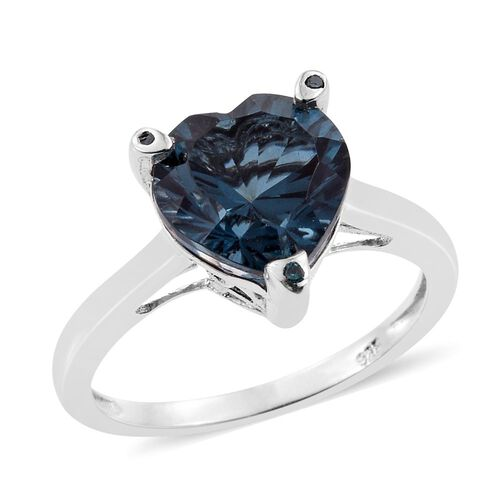 Indicolite Quartz (Hrt), Blue Diamond Heart Ring in Platinum Overlay Sterling Silver 3.500 Ct.