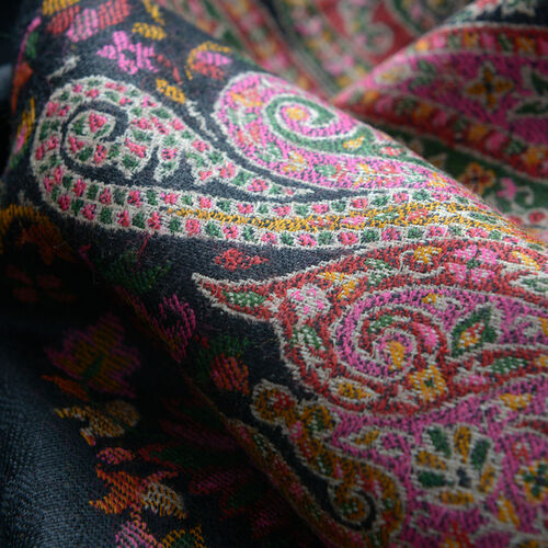 Limited Available - Designer Inspired 100% Merino Wool Multi Colour Paisley Embroidered Black Colour Scarf (Size 200x70 Cm)