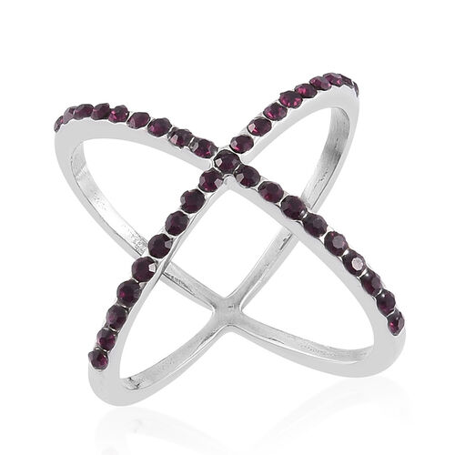 Purple Austrian Crystal Criss Cross Ring in Stainless Steel