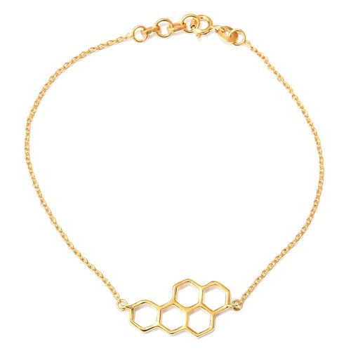 Honeycomb Bracelet in Yellow Gold Vermeil Sterling Silver 7.5 Inch with Half Inch Extender