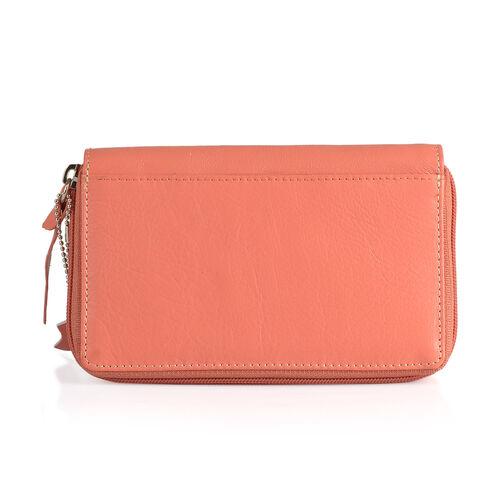 Designer Inspired -  100% Genuine Leather RFID Blocker Flower and Bird Pattern Orange Colour Wallet with Multiple Card Slots (Size 16X10.5X3 Cm)