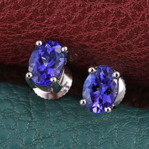RHAPSODY 950 Platinum 1.50 Carat AAAA Tanzanite Solitaire Stud Earrings with Screw Back.
