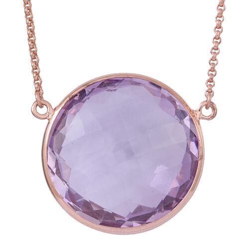 Rose De France Amethyst Necklace (Size 22) in 14K Rose Gold Overlay Sterling Silver 35.000 Ct.
