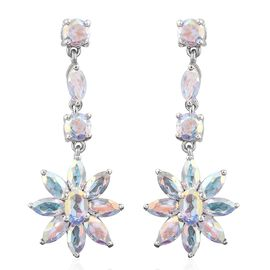 Mercury Mystic Topaz (Ovl) Floral Earrings (with Push Back) in Platinum Overlay Sterling Silver 8.250 Ct.