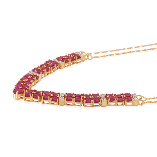 Limited Edition-AAA Burmese Ruby (Ovl), Natural Cambodian White Zircon Necklace (Size 18) in 14K Gold Overlay Sterling Silver 11.000 Ct.