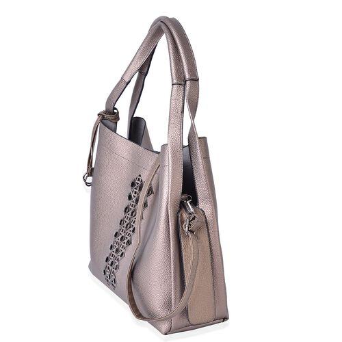 Set of 3 -  Grey Colour Tote Bag (Size 33X31X12.5 Cm), Sling Bag (Size 29X24X10 Cm) and Wristlet Bag (Size 23.5X14.5 Cm)