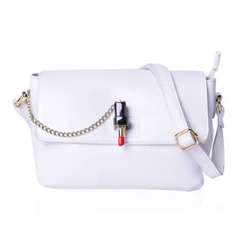 Designer Inspired Genuine Leather Lipstick Design Lock White Colour Crossbody Bag with External Zipper Pocket and Adjustable Shoulder Strap (Size 23X18X10 Cm)