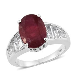 AAA Rare African Ruby (Ovl 8.25 Ct), White Topaz Ring in Platinum Overlay Sterling Silver 11.500 Ct. Silver wt 5.31 Gms.