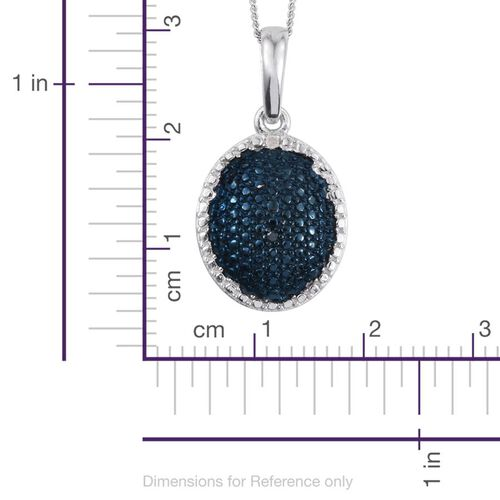 Blue Diamond (Rnd), White Diamond Pendant With Chain in Platinum Overlay Sterling Silver