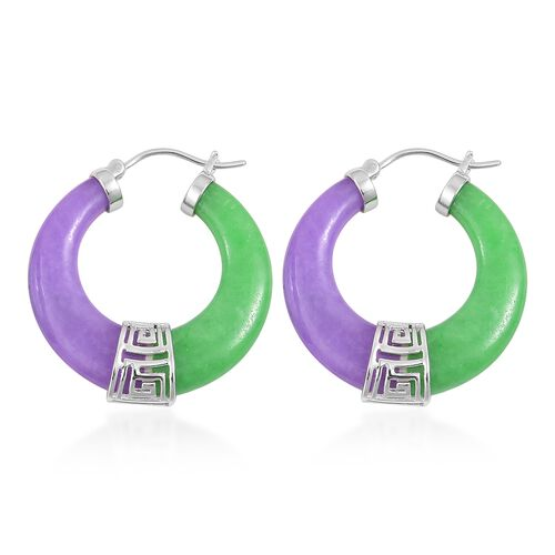 Green Jade and Purple Jade Hoop Earrings (with Clasp) in Rhodium Plated Sterling Silver 53.000 Ct.