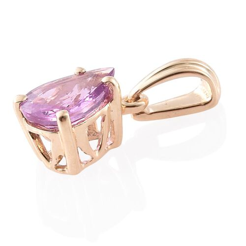 9K Yellow Gold AA Pink Sapphire (Pear) Solitaire Pendant 1.150 Ct.