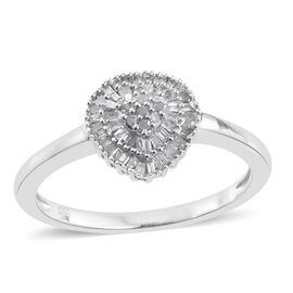 Limited Edition Fire Cracker Diamond Ring in Platinum Overlay Sterling Silver 0.250 Ct.