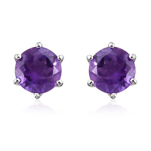 Amethyst 2.25 Ct Silver  Stud Earrings (with Push Back) in Platinum Overlay