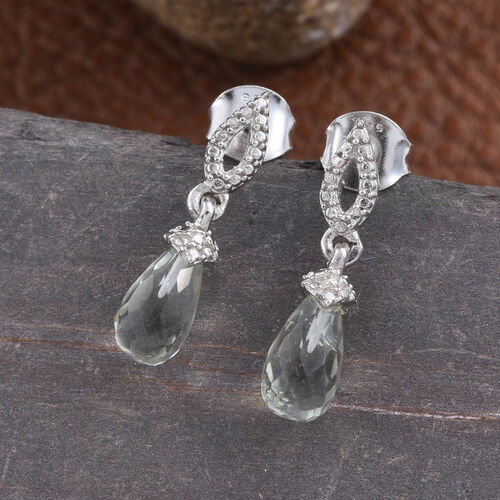 Green Amethyst Drop Earrings (with Push Back) in Platinum Overlay Sterling Silver 3.000 Ct.