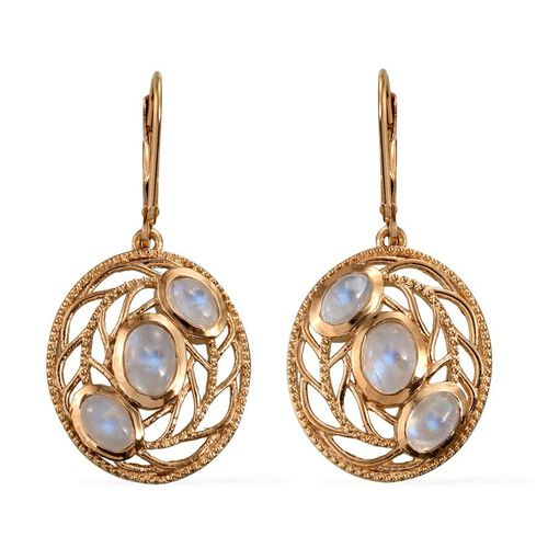 Natural Rainbow Moonstone (Ovl) Lever Back Earrings in 14K Gold Overlay Sterling Silver 4.000 Ct.