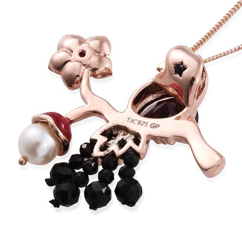 GP Rhodolite Garnet (Pear), Fresh Water Pearl, Boi Ploi Black Spinel and Kanchanaburi Blue Sapphire Bird on Tree Branch Pendant with Chain in Rose Gold Overlay Sterling Silver 5.750 Ct.