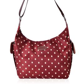 Checks Pattern White and Red Colour Crossbody Bag with External Pocket and Adjustable Shoulder Strap (Size 38x30x26x13 Cm)