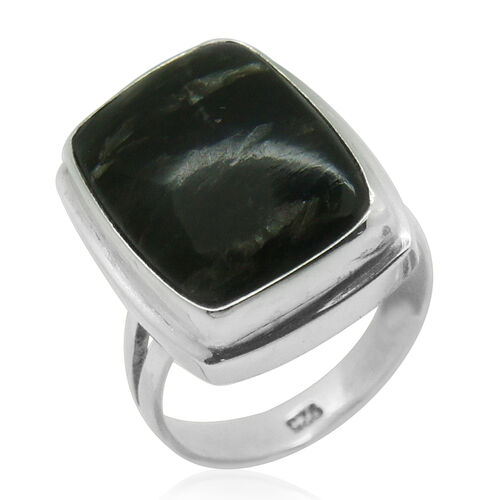 Royal Bali Collection Siberian Seraphinite (Cush) Solitaire Ring in Sterling Silver 7.730 Ct.