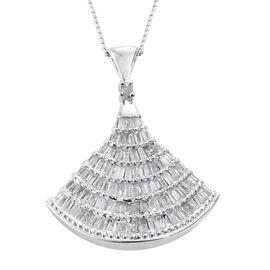 Designer Inspired - Diamond Ballerina Pendant with Chain in Platinum Overlay Sterling Silver 1.150 Ct.