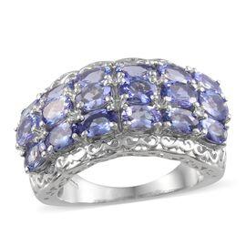 Tanzanite (Ovl) Ring in Platinum Overlay Sterling Silver 5.000 Ct.