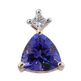 14K Y Gold AA Tanzanite (Trl 0.70 Ct), Diamond (I2-I3/G-H) Pendant 0.750 Ct.