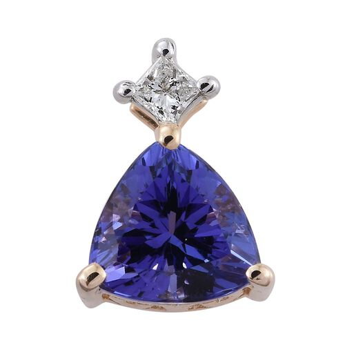 14K Y Gold AA Tanzanite (Trl), Diamond (I2-I3/G-H) Pendant 0.750 Ct.