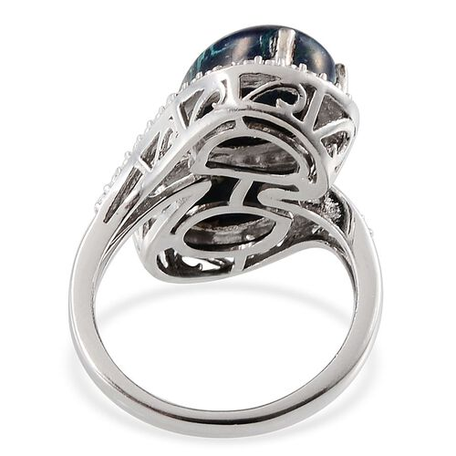 Table Mountain Shadowkite (Pear), Diamond Ring in Platinum Overlay Sterling Silver 6.280 Ct.