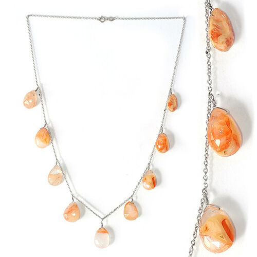 Graphic Quartz Pear Beads Necklace (Size 18) in Platinum Overlay Sterling Silver 53.000 Ct.