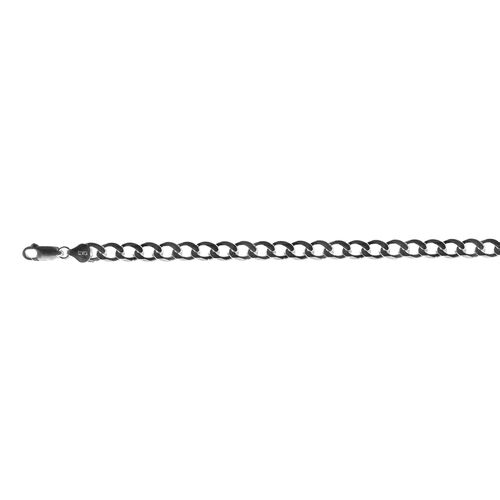 Italian Hand Made Rhodium Plated Sterling Silver Flat Curb Necklace (Size 24), Silver wt 36.30 Gms.