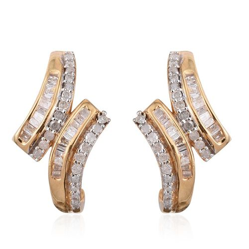 Diamond (Rnd) Stud Earrings (with Push Back) in 14K Gold Overlay Sterling Silver 0.500 Ct.