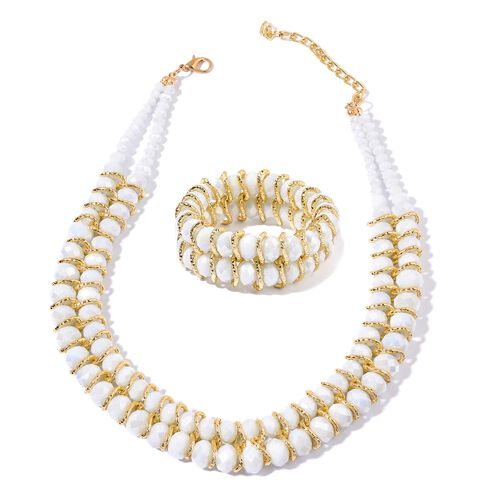 Simulated White Diamond Necklace (Size 18 with 2 inch Extender) and Stretchable Bracelet (Size 7.50) in Gold Tone