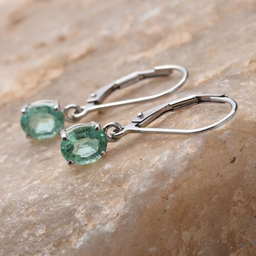 14K White Gold AAA Boyaca Colombian Emerald (Ovl) Lever Back Earrings 1.150 Ct.