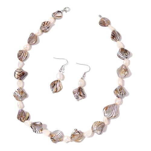 Grey Shell and Fresh Water White Pearl Necklace (Size 18) and Hook Earrings in Silver Tone