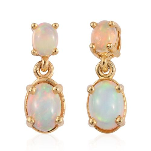 Ethiopian Welo Opal (Ovl) Earrings (with Push Back) in 14K Gold Overlay Sterling Silver 1.000 Ct.